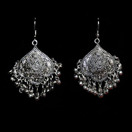 Серьги «Веер серебро»